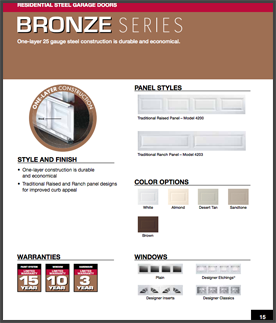Bronze series garage doors