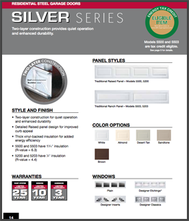 Silver series garage doors